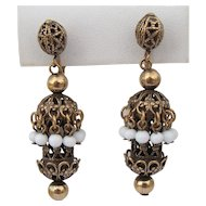 Vintage Haskell White Glass & Gilt Filigree Earrings
