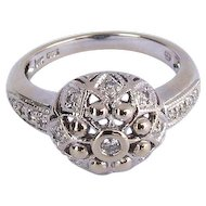 Vintage 14K White Gold Antique Style Diamond Dome Ring
