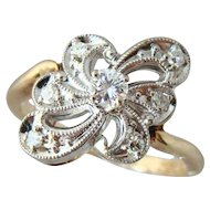 Divine 14k 1935 Signed Vintage Zales Diamond Ring