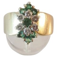 Substantial 14K Gold Emerald Diamond Ring 6.2 grams