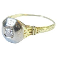 Art Deco 14K White and Yellow Gold Old Mine Cut Solitaire Diamond Ring Vintage