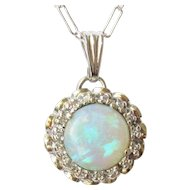 14k White Gold Opal Diamond Pendant 4 grams