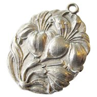 800 Silver Art Nouveau Double Sided Pin Pendant Floral Saint Anthony Vintage Religious