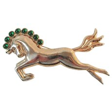 Deco Rose Gold Vermeil Silver Horse Stallion ca 1940 Brooch Mexico 21.89 grams Vintage