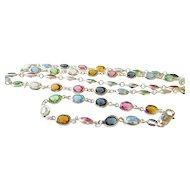 Milor Sterling Silver Multi-Color Crystal Gemstone Necklace and Bracelet Set