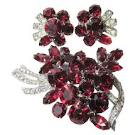 Vintage Designer Red Rhinestone Brooch Earrings Set Either D&E or Weiss