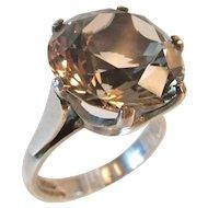 Fabulous Large Rock Crystal Sterling Ring Modernist Design Stunning