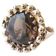 Stunning 14 kt Rose Gold 8.25 tcw Smokey Topaz Vintage Ring