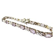 Sterling Amethyst Tennis Bracelet Estate