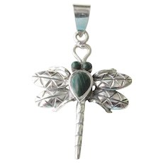 Sterling Malachite Dragonfly Pendant Estate