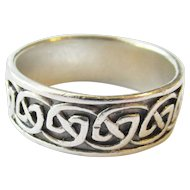 Signed Peter Stone Sterling Silver Celtic Knot Ring - Unisex