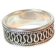 Sterling Band Ring with Swirl Design Vintage