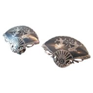 Sterling Fan Siam Earrings Vintage Clip on