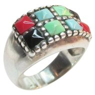 Sterling Turquoise Coral Onyx Vintage Ring