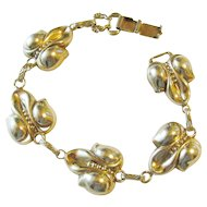Vermeil Gold over Sterling Floral Orchid Panel Bracelet Vintage 22.50 grams Ca. 1950's