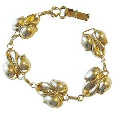 Vermeil Gold over Sterling Floral Orchid Panel Bracelet Vintage 22.50 grams Ca. 1950's