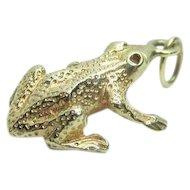 14K Gold 3D Frog Charm or Pendant Vintage 1.89 Grams