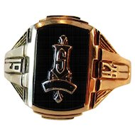 Art Deco 10K Gold & Black Onyx 1942 Class Ring