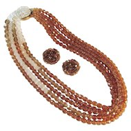 Stunning Coppola E Toppo Crystal Demi Parure Necklace Earrings Vintage