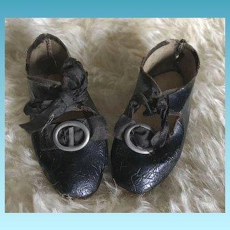Antique Black Oil Cloth Doll Shoes w/buckles