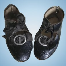 Antique Black Oil Cloth Doll Shoes w/buckles