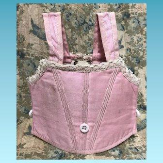 Antique Pink Sateen Jumeau Corset Sz 10