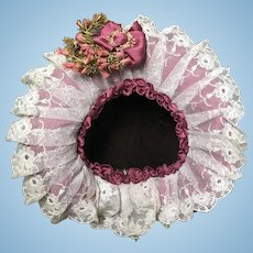 UNIQUE Antique Doll Straw Hat w/flowers