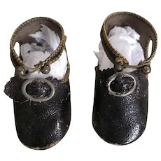 Antique Black Leather Doll Shoes w/Buckles