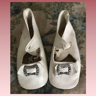 Antique White Leather Doll Shoes w/Buckles