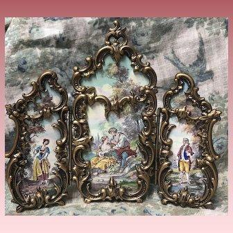 Gorgeous Antique Viennese Enamel Tri Fold Screen Doll House