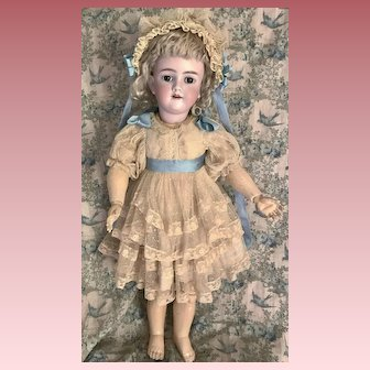 """Sweet Lace Dress and Bonnet For Large 24-25"""" Antique Doll"""
