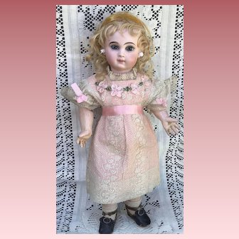 Beautiful Antique Doll Dress and Bonnet Ribbonwork Flowers Lace