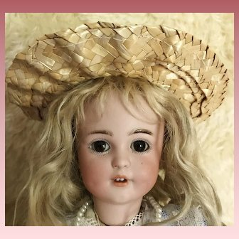 "Sweet Straw Hat w/sunflowers for Antique Doll 8"" Circ."