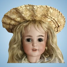 """Sweet Straw Hat w/sunflowers for Antique Doll 8"""" Circ."""