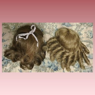 "2 Small Human Hair Antique Doll Wigs w/bangs 8-1/2"" Circ."