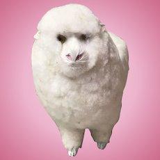 """Vintage Large Sheep 9"""" Long Wool Body Rabbit Fur Face"""