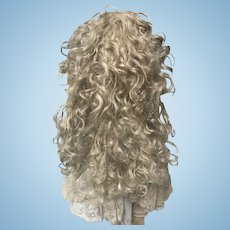 "RARE Stunning ANTIQUE Blonde Mohair Extension Wig 12.5"" Circ. and 15"" long"