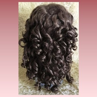 "RARE & Wonderful Condition Antique Brown Doll Wig w/Extensions 13"" Circ."