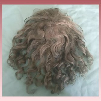 "Nice Ash Blonde Antique Mohair Doll Wig  W/ Bangs and Curls 12"" Circ."