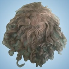 """Nice Ash Blonde Antique Mohair Doll Wig  W/ Bangs and Curls 12"""" Circ."""