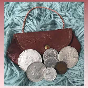 Cute Vintage Child or Doll Change Purse w/ Coins