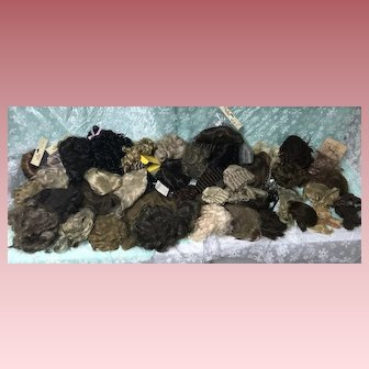 Huge Lot 30+  Doll Wigs and Pieces
