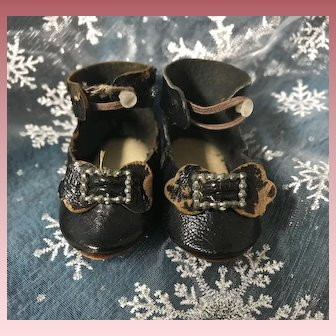 Antique Black French  Leather Doll Shoes Stamped LP
