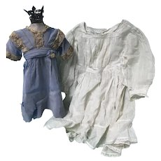 2 Antique Doll Dresses in Bad Shape for Repair, Study or Pattern