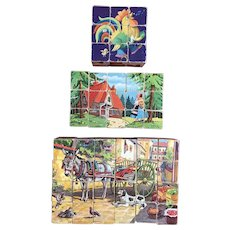3 Vintage Wood Paper Picture Puzzle Blocks Goldilocks Musical Animals Farm Scenes