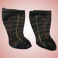 Unique Old Socks for Larger Antique Doll French Bebe Jumeau Bru Steiner