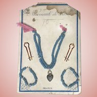 Fabulous Antique French Doll Jewelry Sewn Onto Original Card