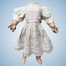 Adorable White w/ Lace Antique Doll Dress