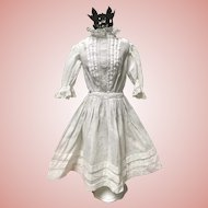Nice Antique White with Lace Doll Dress Large