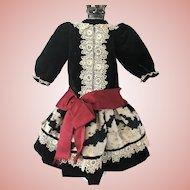 Antique Black Velvet Dress for Jumeau Bru Steiner Doll